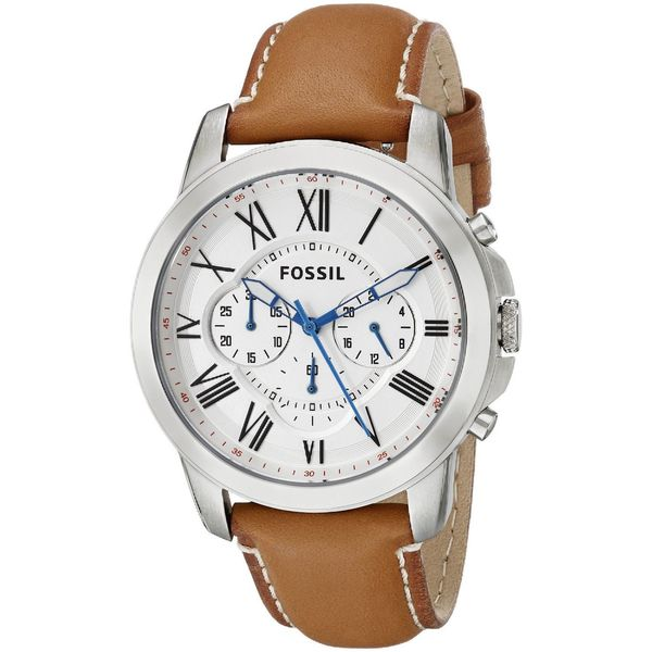 Fossil Men's Grant Chronograph White Dial Brown Leather Watch FS5060