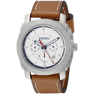 Fossil Men's Machine Chronograph Silver Dial Brown Leather Watch FS5063