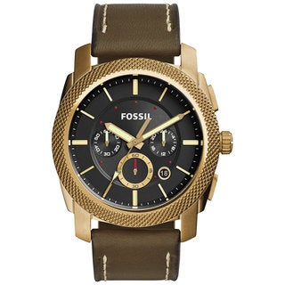 Fossil Men's Machine Chronograph Black Dial Green Leather Watch FS5064