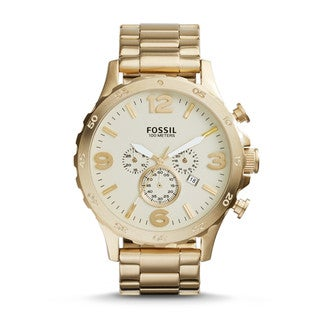 Fossil Men's Nate Chronograph Gold Dial Gold-tone Bracelet Watch JR1479