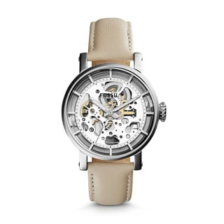 Fossil Women's Original Boyfriend Automatic Skeletonized White Leather Watch