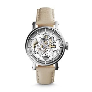 Fossil Women's Original Boyfriend Automatic Skeletonized White Leather Watch