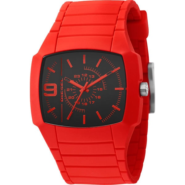 Diesel Men's Square Black Dial Red Silicone Analog Watch DZ1351