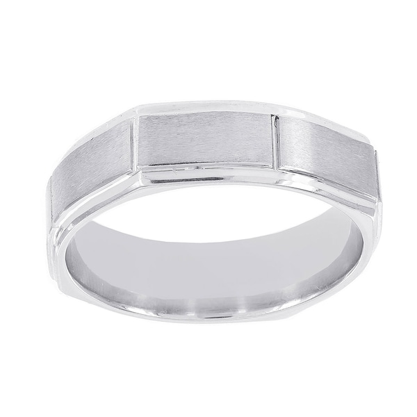 H Star Cobalt Men's 7mm Octagonal Satin Ridged Edge Band