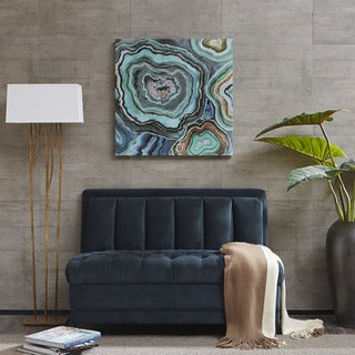 Madison Park Aqua Agate Printed Canvas With Gel Coat