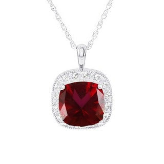 H Star 14k White Gold Red Wine Topaz and 1/6ct TDW Diamond Necklace (H-I, I1-I2)