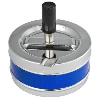 Taz Blue and Silver Metal Air Tight Push Down Cigarette Ashtray