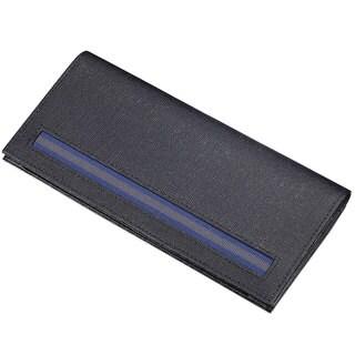 Caseti Randolph Ribbed Black Leather Long Wallet