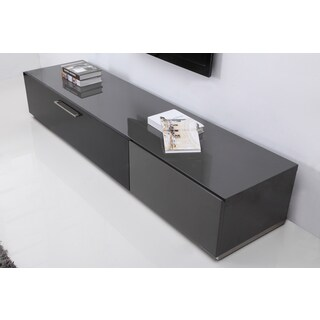 B-Modern Producer Grey/ Black/ Steel Modern TV Stand with IR Glass