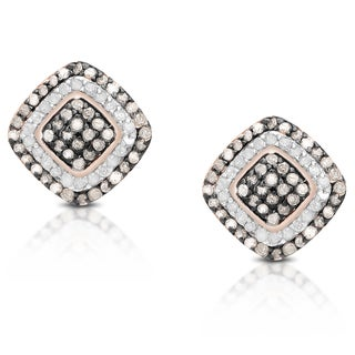 1/3ct TDW Brown and White Fashion Diamond Stud Earrings with Gift Box