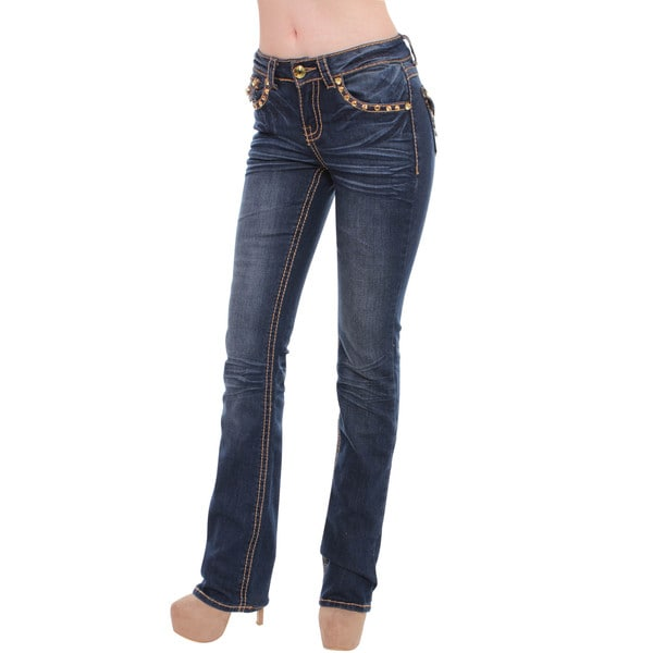Sexy Couture Women's S98-PS Mid Rise Bootcut Jeans