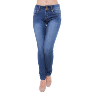 Tri Angel Women's T4006-PS Mid Rise Skinny Jeans