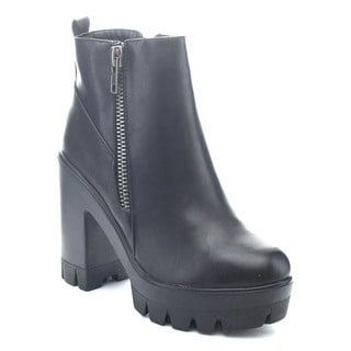 Bamboo JONAS-4 Women Side Zip Platform Lug Sole Ankle Boots