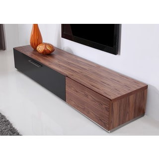 B-Modern Producer Light Walnut/ Black/ Steel Modern TV Stand with IR Glass