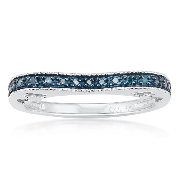 Sterling Silver 1/10ct TDW Blue Diamond Curve Band Ring