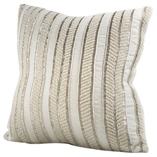 Chauran Seville Ivory Linen 16-inch Down/ Feather Throw Pillow with Hand-applied Beads