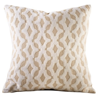 Chauran Aurora Beige Linen Feather and Down-filled 18-inch Embroidered Throw Pillow