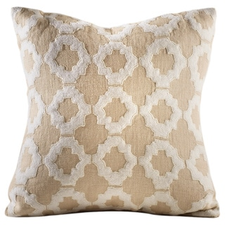 Chauran Aurora Beige Linen Feather and Down-filled 16-inch Embroidered Throw Pillow