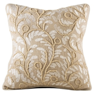 Chauran Allegria Beige Feather and Down-filled 18-inch Linen Throw Pillow with Embellished Embroidery
