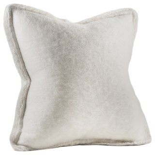 Chauran Karina Ivory Mohair Feather and Down-filled 20-inch Throw Pillow with Crochet Border