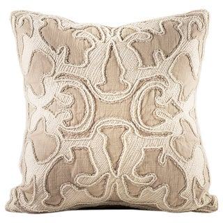 Chauran Encanto Sand Chenille Feather and Down 16-inch Pillow with Beaded Embroidery