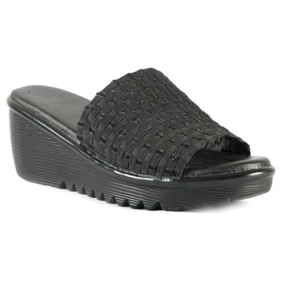 "Heal USA Women's ""Abbey"" Stretchy Woven Wedge Sandals"