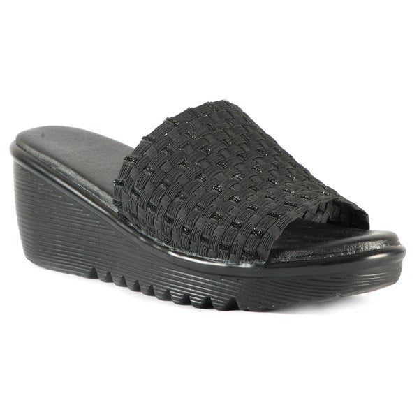 Women's Stetchy Woven Black Band Wedge Sandals