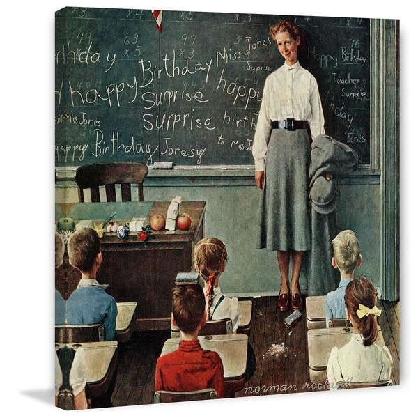 "Marmont Hill - ""Happy Birthday, Miss Jones"" by Norman Rockwell Painting Print on Canvas"