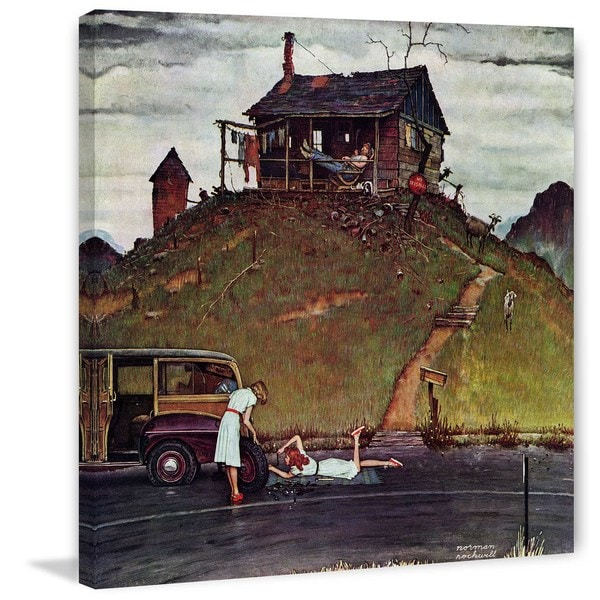 """Marmont Hill - """"Changing a Flat"""" by Norman Rockwell Painting Print on Canvas"""