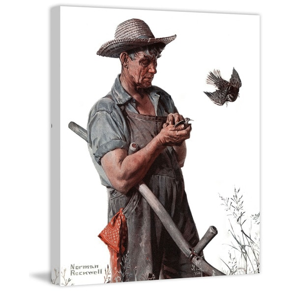 "Marmont Hill - ""Farmer and the Bird"" by Norman Rockwell Painting Print on Canvas"