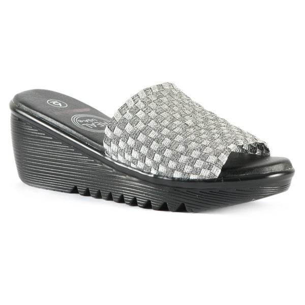 Women's Stretchy Woven Silver Sparkle Band Wedge Sandals