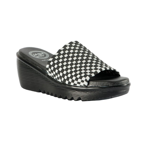 Women's Stretchy Woven Black/ Grey Band Wedge Sandals