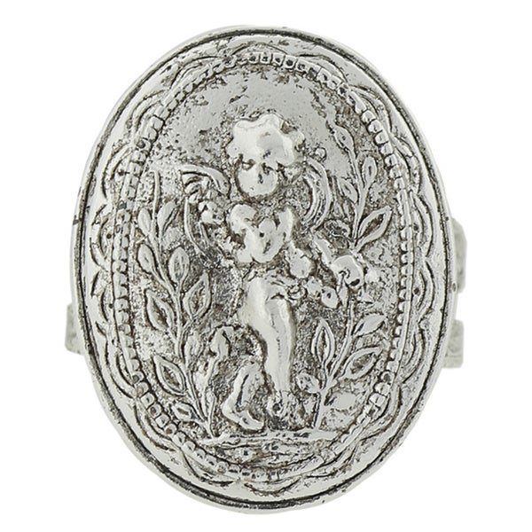 The Vatican Library Collection Silvertone Guardian Angel Stretch Ring