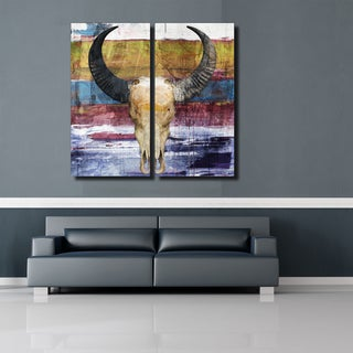 Born 2B Wild XIX' Steer Skull Canvas Wall Art