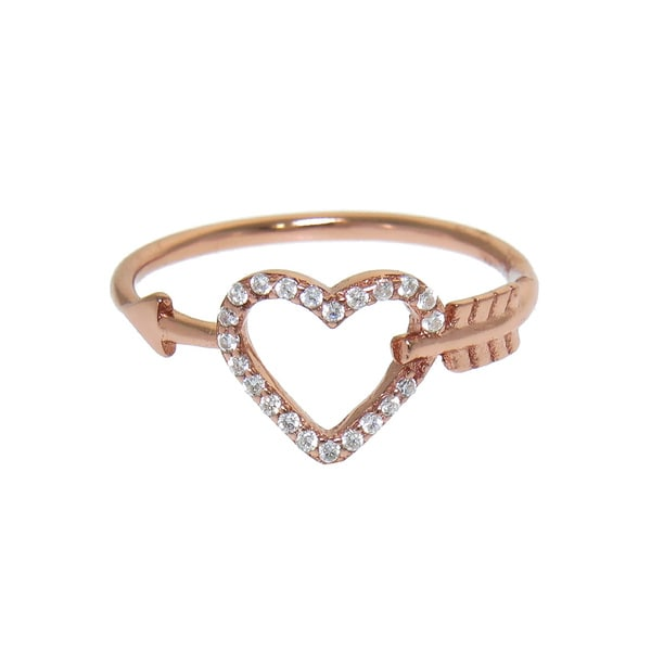 Eternally Haute 14K Rose Gold over Solid Sterling Silver Pave Cupid's Arrow Ring
