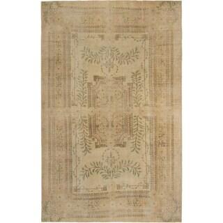 Ecarpetgallery Anatolian Sunwash Cream Khaki Wool Medallion Rug (7'1 x 10'9)