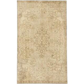 Ecarpetgallery Anatolian Sunwash Cream Khaki Wool Medallion Rug (6'4 x 10'6)