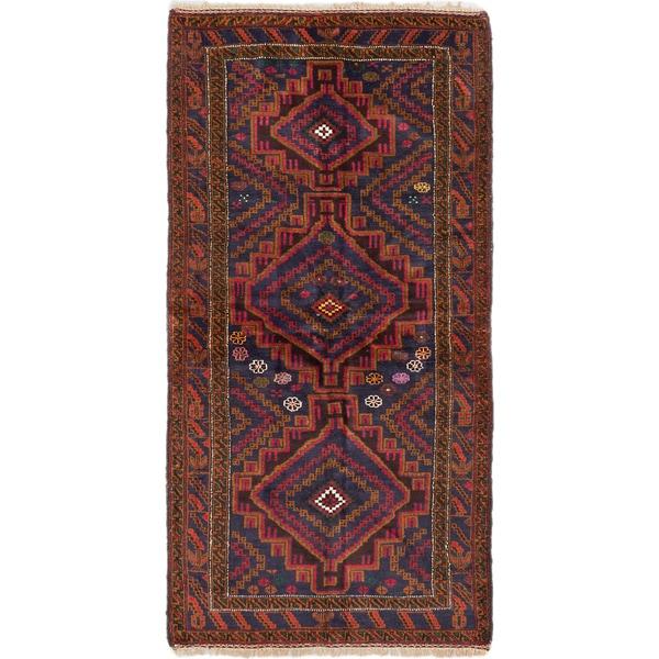 Ecarpetgallery Royal Balouch Dull Red Navy Wool Geometric Rug (3'8 x 7'1)