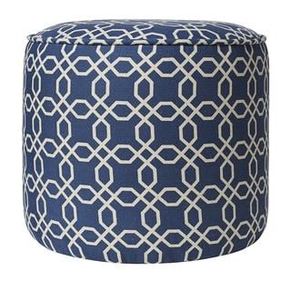 Jennifer Taylor Blue Cylinder Chevron Ottoman