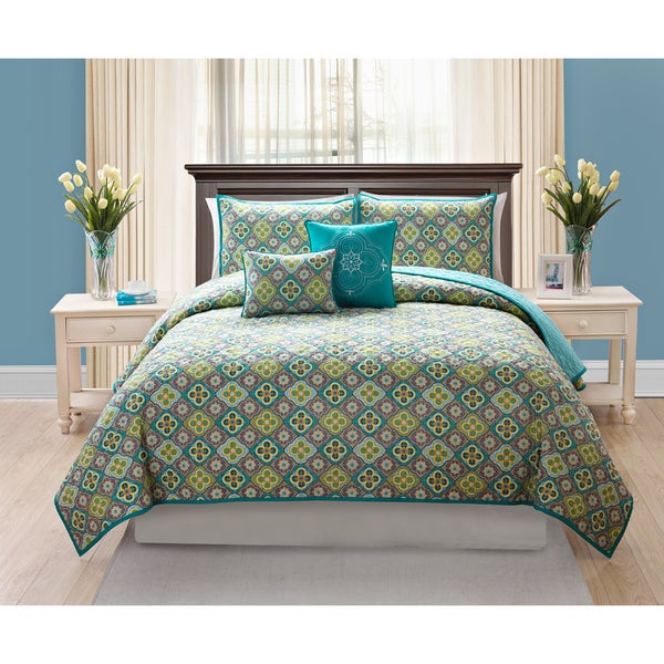 Quinn Teal Cotton Quilt Set
