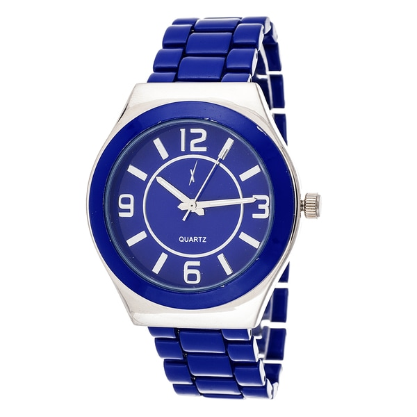 Xtreme Boyfriend Women's Silver Case / Navy Blue Strap Watch