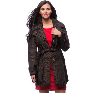 London Fog Missy Double Collar Leopard Print Women's Coat