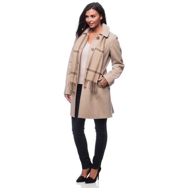 London Fog Women's Raglan Scarf Coat