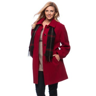 London Fog Women's Plus Raglan Scarf Coat