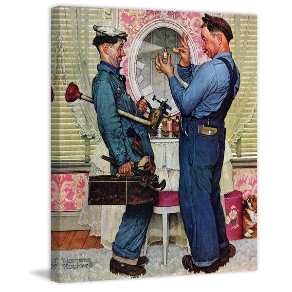 "Marmont Hill - ""Plumbers"" by Norman Rockwell Painting Print on Canvas"