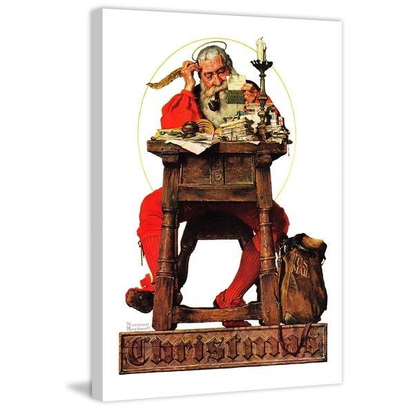 """Marmont Hill - """"Santa at His Desk"""" by Norman Rockwell Painting Print on Canvas"""