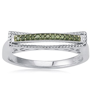 Sterling Silver 1/10ct TDW Green Diamond Dome Top Band Ring (I2-I3)