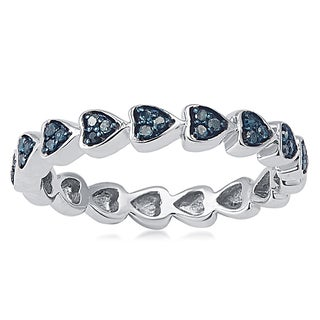 Sterling Silver 1/6ct TDW Blue Diamond Heart Eternity Band Ring