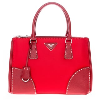 Prada Red Tessuto Saffiano Leather Tote