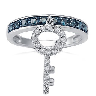 Sterling Silver 1/2ctw TDW Blue and White Diamond Key Dangle Charm Band Ring (H-I, I2-I3)